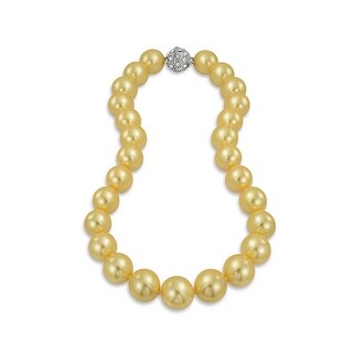 Bling Jewelry Rhodium Plated Imitation Golden Pearl Bridal Necklace