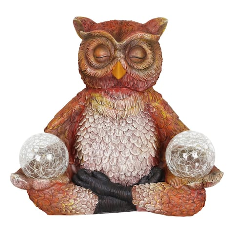Exhart Solar Meditating Yoga Owl with Two Crackle Glass Firefly Balls Garden Statue