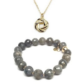 "Julieta Jewelry Set 10mm Grey Labradorite Sophia 7"" Stretch Bracelet & 12mm Love Knot Charm 16"" 14k Over .925 SS Necklace"