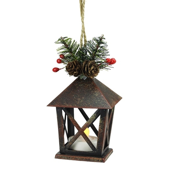 "5"" Country Rustic LED Lighted Copper Tone Candle Lantern with Pine Foliage Christmas Ornament"