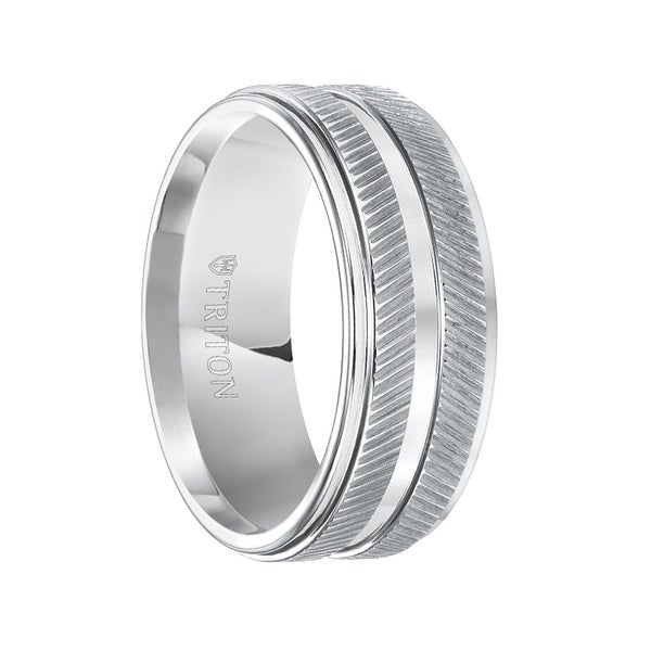 LANDRY White Tungsten Band with Dual Raised Diagonal Coin Edge and Polished Step Edges by Triton Rings - 9 mm