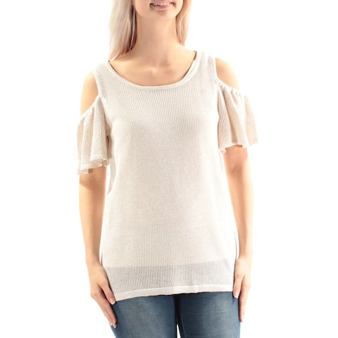 CALVIN KLEIN Womens Ivory Cold Shoulder Metallic Short Sleeve Scoop Neck Sweater Size: S