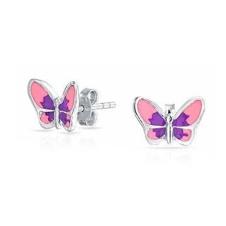 Tiny Purple Pink Summer Garden Butterfly Stud Earrings For Women For Teen 925 Sterling Silver