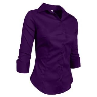 16522aeecd82a Buy Purple 3 4 Sleeve Shirts Online at Overstock