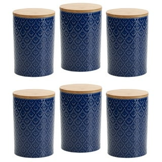 Link to Pfaltzgraff Blue Floral 6.5IN Canister with Bamboo Lid (Set of 6) Similar Items in Kitchen Storage