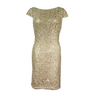 Adrianna Papell Women's Petite Sequined Lace Sheath Dress - Gold - 8P