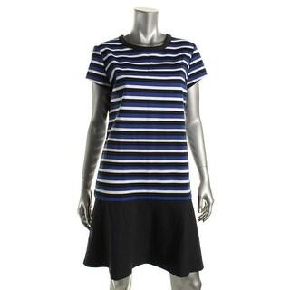 Michael Kors Womens Striped Cap Sleeves Flounce Dress - L