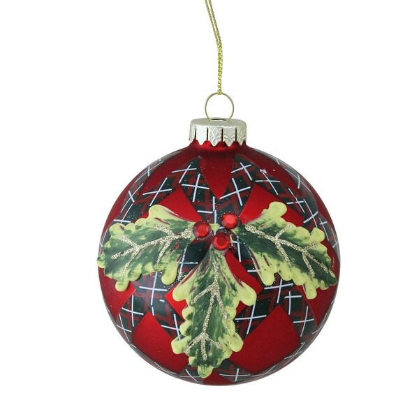"4"" (100mm) Holiday Moments Geometric Plaid Mistletoe Ball Glass Christmas Ornament"