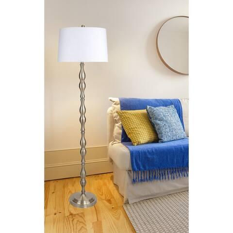 "65"" Metal Floor Lamp w/ Baluster-Inspired Body & Linen Shade"