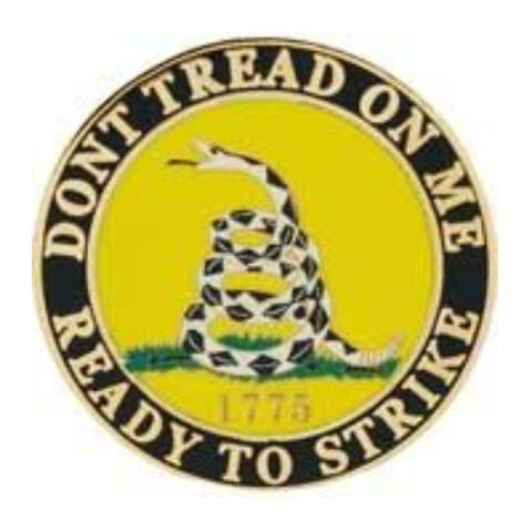 Don't Tread On Me Ready To Strike Military Lapel Pin - 1 inch diameter
