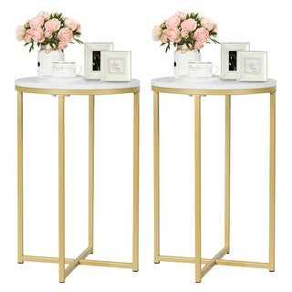 Gymax Set of 2 Round Side End Coffee Table Nightstand Faux Marble Top w/Metal Frame - as pic