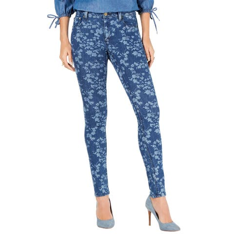 MICHAEL Michael Kors Womens Floral-Print Skinny Jeans 2 Petite Antique Wash