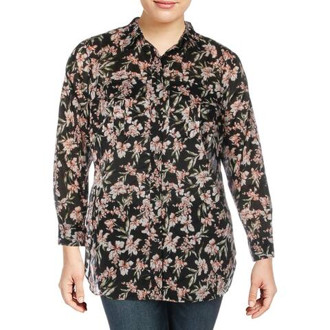 Lauren Ralph Lauren Womens Plus Button-Down Top Cotton Floral - Black Multi