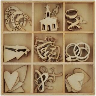Themed Mini Wooden Flourishes 45/Pkg-Always & Forever Wedding