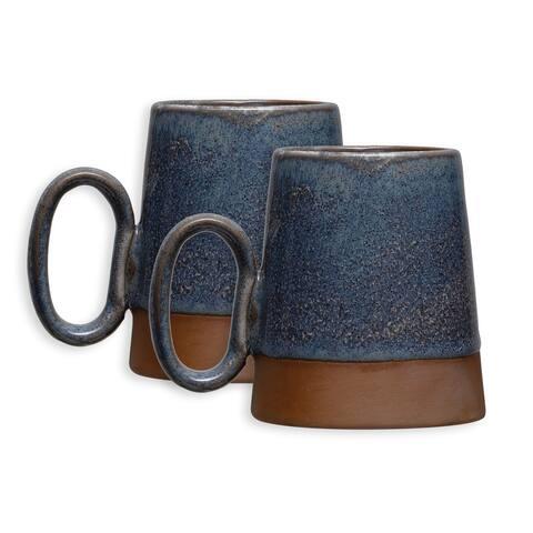 Rustic Stoneware Mugs with Reactive Glaze Finish and Handle, Set of 2