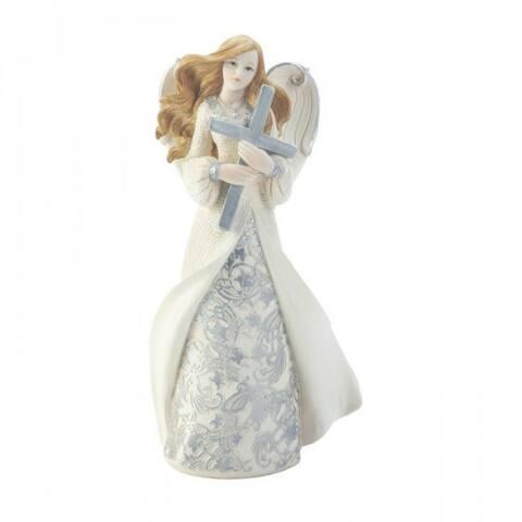 Holding Cross Angel Figurine - Ivory