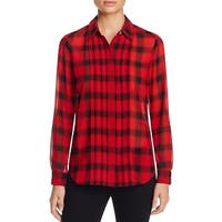 Foxcroft Womens Button-Down Top Plaid Pintuck
