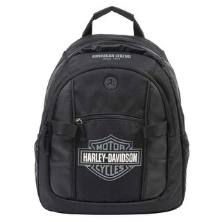 Harley-Davidson Bar & Shield Day Backpack, Gray Logo, Black BP1968S-GRYBLK