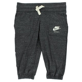 Nike Girls Gym Vintage Capri Pants Heather Grey - Heather Grey/White - S