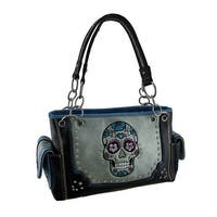 Embroidered Rhinestone Sugar Skull Concealed Carry Handbag with Stitched Trim