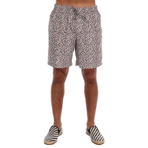 Dolce & Gabbana Beige Print Beachwear Men's Shorts