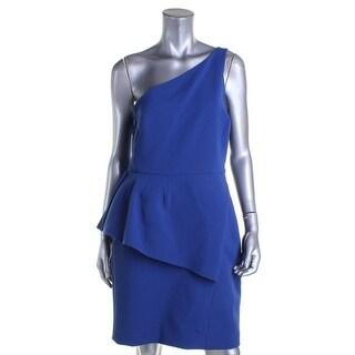 Halston Heritage Womens Cocktail Dress Peplum One Shoulder - 12