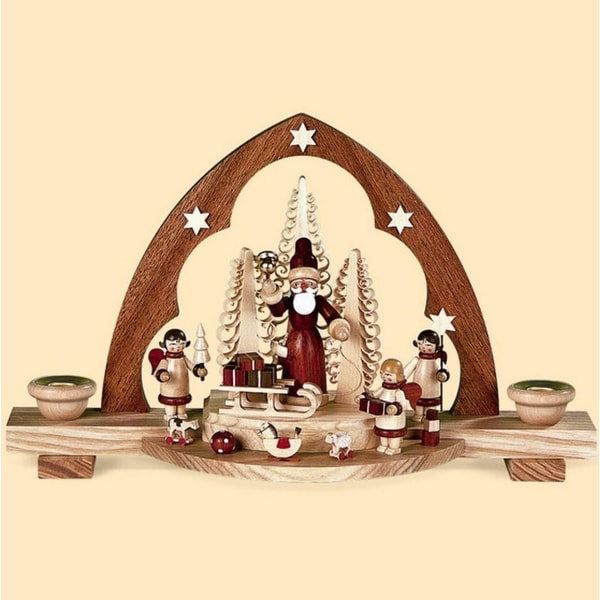 """12"""" Wooden Christmas Santa with Gifts Candle Arch Candle Holder"""