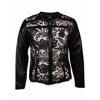 INC International Concepts Women's Faux Leather Overlay Jacket