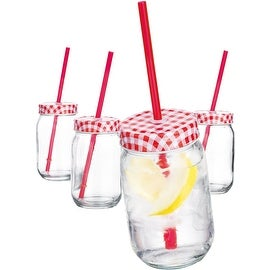 Palais Mason Jar Tumbler Mug with Stainless Steel Lid and Decorative Straws - 15 Ounces - Set of 4 (Gingham Red Design)