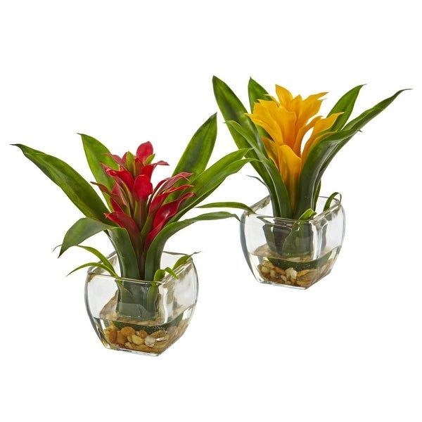 Nearly Natural Bromeliad with Vase Arrangement - Set of 2