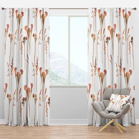 Designart 'Retro Handdrawn Flowers I' Mid-Century Modern Blackout Curtain Panel