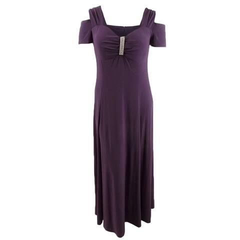 R&M Richards Women's Plus Size Rhinestone-Detail Gown