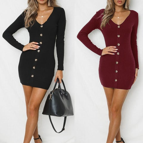 Knitted Button Front Bodycon Dress