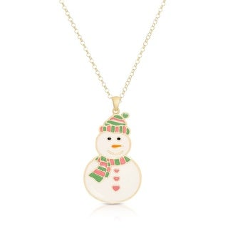 Lily Nily Girl's Smiling Snowman Pendant - Green