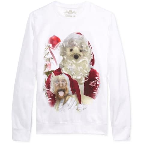 American Rag Mens Santa Dog Face Swap Sweatshirt