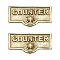 2 Switch Plate Tags COUNTER Name Signs Labels Lacquered Brass | Renovator's Supply