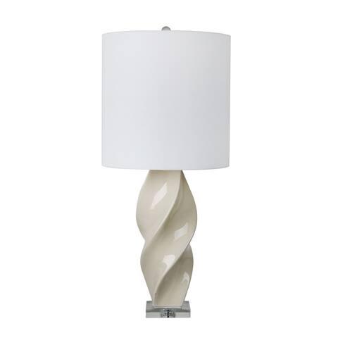 """Ceramic 38"""" Twist Table Lamp, White"""