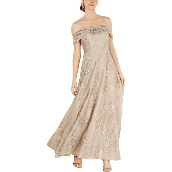 Calvin Klein Womens Evening Dress Floral Metallic - Beige. Opens flyout.