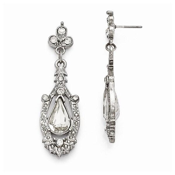 Silvertone Clear Glass Post Earrings