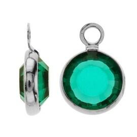 SWAROVSKI ELEMENTS Rhodium Plated Channel Crystal Charm Emerald 10mm (8)
