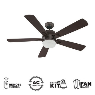 "Craftmade Pulsar 52"" 5 Blade Indoor Ceiling Fan - Blades, Remote and Light Kit Included - oiled bronze"