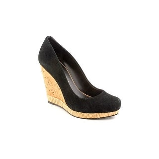 Luxury Rebel Syri Women Open Toe Suede Black Wedge Heel