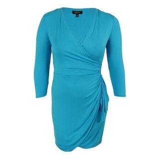 Spense Women's 3/4 Sleeve Faux-Wrap Jersey Dress - pl