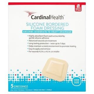 Cardinal Health 6x6 Inch Silicone Bordered Foam Dressing, 120 Count