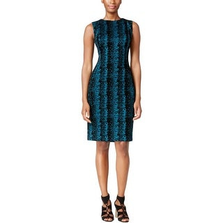 Calvin Klein Womens Petites Wear to Work Dress Flocked Sleeveless