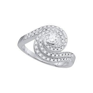 10k White Gold Womens Natural Round Diamond Swirled Bridal Wedding Engagement Ring 1/2 Cttw