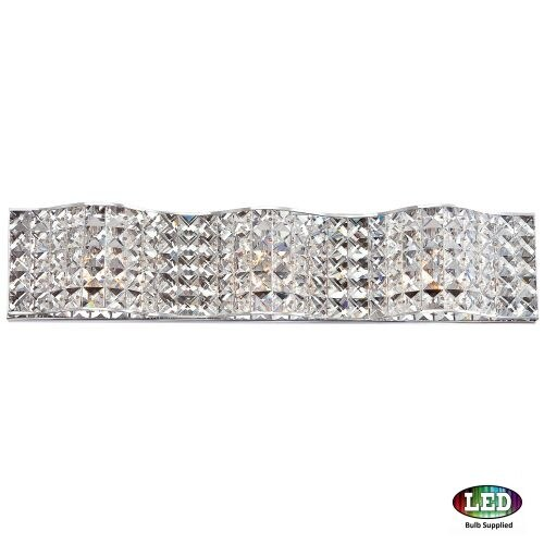 "Platinum PCAX8603LED Alexa 3 Light 25"" Wide Bathroom Vanity Light with Crystal Specialty Shades"