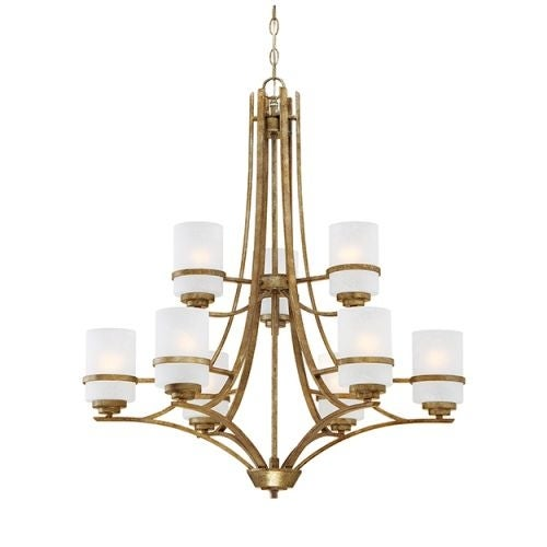 """Millennium Lighting 3289 Benton 9 Light 30"""" Wide 2-Tier Chandelier with Etched Glass Pillar Candle Style Shades"""