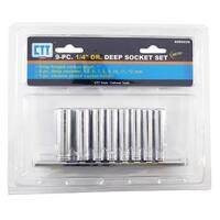 "9-pc. 1/4"" Drive Deep Metric Socket Set"