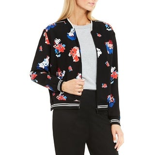 Vince Camuto Womens Petites Bomber Jacket Floral Print Long Sleeves